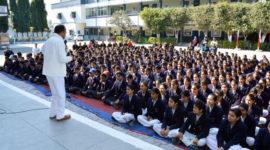 Professor B.K.E. Girish a spiritual trainer from Brahma Kumari Ishwariya Vishwavidyalaya has interacted with the students of class IX to XI On 09 Feb, 2017