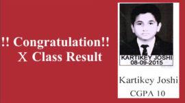 Kartikey Joshi Class X CGPA 10