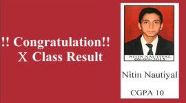 Nitin Nautiyal Class X CGPA 10