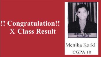 Menika Karki Class X CGPA 10