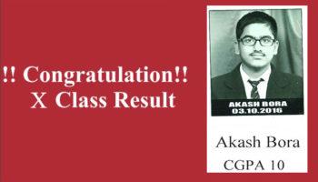 Akash Bora Class X CGPA 10