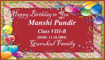 Happy Birthday - Manshi Pundir - Class VIII (B)