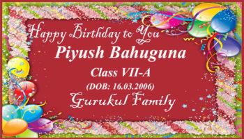 Happy Birthday - Piyush Bahuguna - Class VII (A)