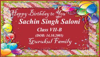Happy Birthday - Sachin Singh Saloni - Class VII (B)