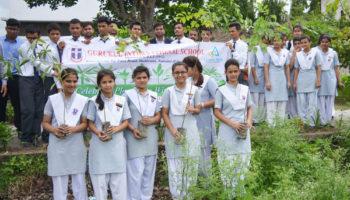 Gurukul International School Haldwani and Canara Bank Haldwani jointly planted 100 trees in the vicinity of Kamalwaganja on 24/7/17.