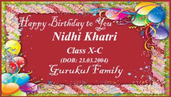 Happy Birthday - Nidhi Khatri - Class X (C)