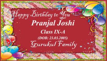 Happy Birthday - Pranjal Joshi - Class IX (A)